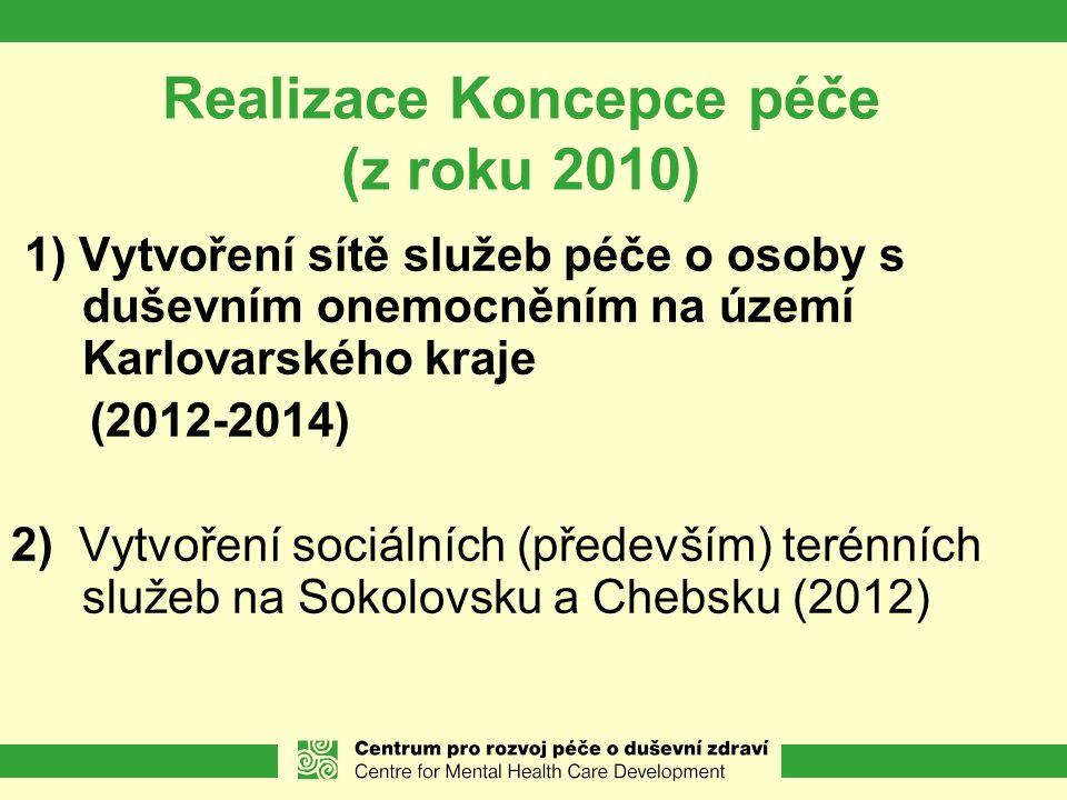 Realizace Koncepce péče (z roku 2010) 1) Vytvoření sítě služeb péče o osoby s duševním onemocněním na území Karlovarského kraje (2012-2014) 2) Vytvoření sociálních (především) terénních služeb na Sokolovsku a Chebsku (2012)