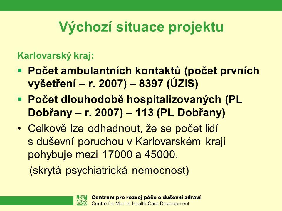 Výchozí situace projektu Karlovarský kraj:  Počet ambulantních kontaktů (počet prvních vyšetření – r. 2007) – 8397 (ÚZIS)  Počet dlouhodobě hospital