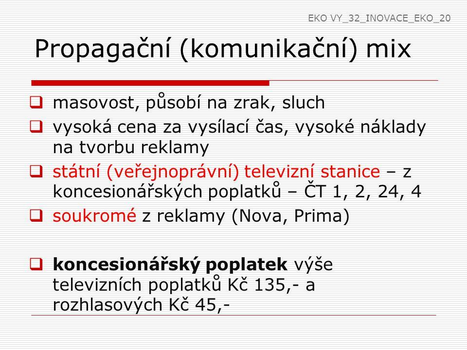 Propagační (komunikační) mix  masovost, působí na zrak, sluch  vysoká cena za vysílací čas, vysoké náklady na tvorbu reklamy  státní (veřejnoprávní) televizní stanice – z koncesionářských poplatků – ČT 1, 2, 24, 4  soukromé z reklamy (Nova, Prima)  koncesionářský poplatek výše televizních poplatků Kč 135,- a rozhlasových Kč 45,- EKO VY_32_INOVACE_EKO_20