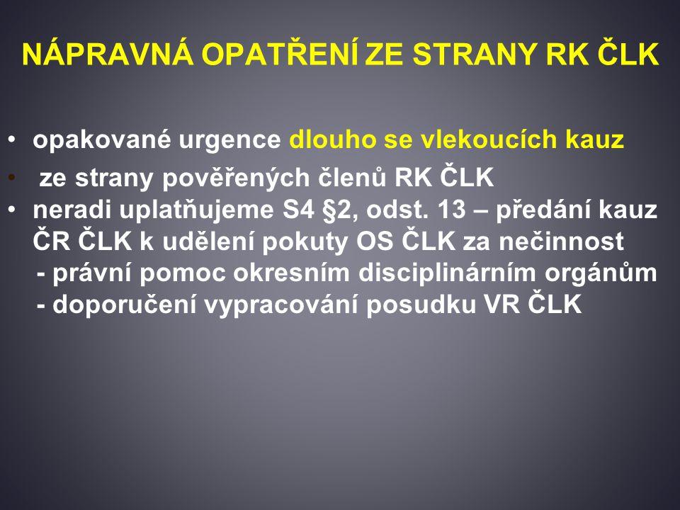 NÁPRAVNÁ OPATŘENÍ ZE STRANY RK ČLK opakované urgence dlouho se vlekoucích kauz ze strany pověřených členů RK ČLK neradi uplatňujeme S4 §2, odst.