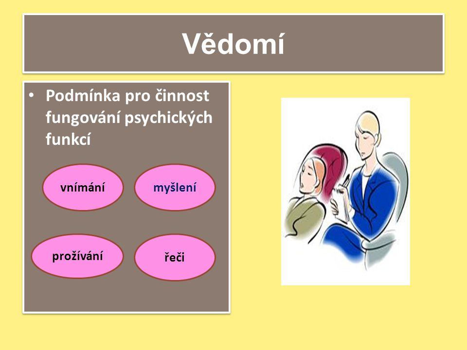 Vědomí Podmínka pro činnost fungování psychických funkcí vnímánímyšlení prožívání řeči
