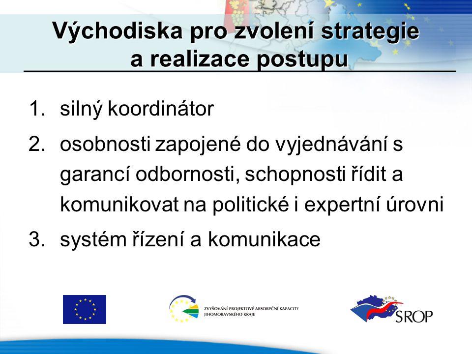 1.silný koordinátor 2.osobnosti zapojené do vyjednávání s garancí odbornosti, schopnosti řídit a komunikovat na politické i expertní úrovni 3.systém řízení a komunikace Východiska pro zvolení strategie a realizace postupu