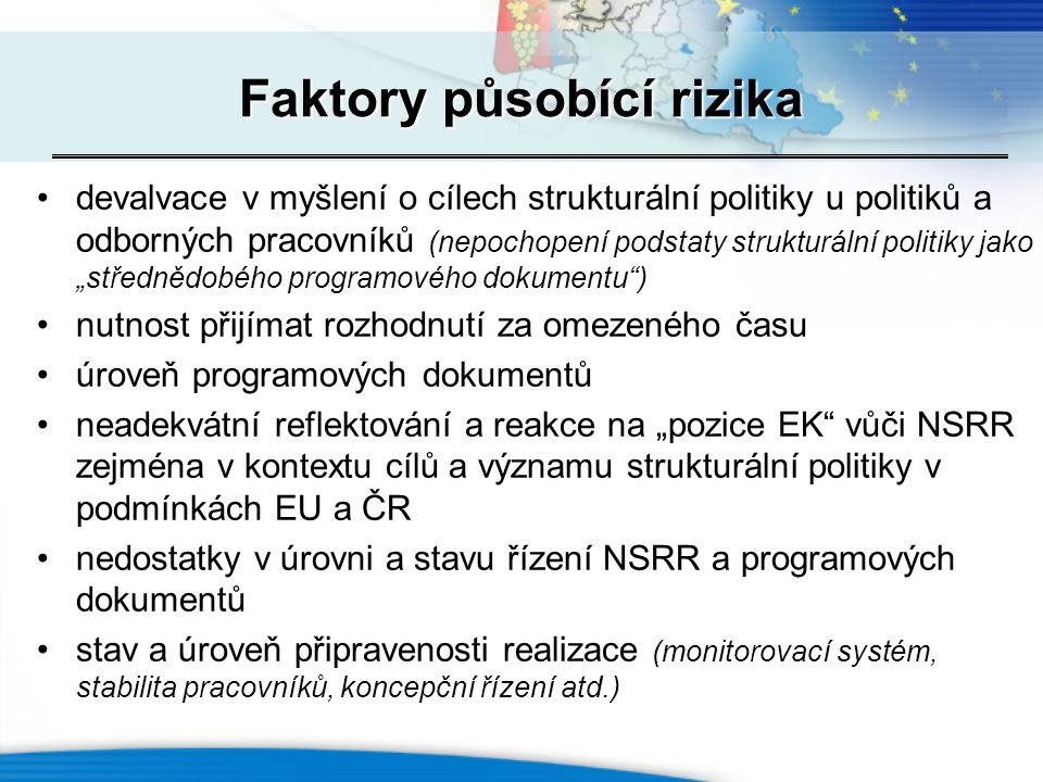 """Faktory působící rizika devalvace v myšlení o cílech strukturální politiky u politiků a odborných pracovníků (nepochopení podstaty strukturální politiky jako """"střednědobého programového dokumentu ) nutnost přijímat rozhodnutí za omezeného času úroveň programových dokumentů neadekvátní reflektování a reakce na """"pozice EK vůči NSRR zejména v kontextu cílů a významu strukturální politiky v podmínkách EU a ČR nedostatky v úrovni a stavu řízení NSRR a programových dokumentů stav a úroveň připravenosti realizace (monitorovací systém, stabilita pracovníků, koncepční řízení atd.)"""