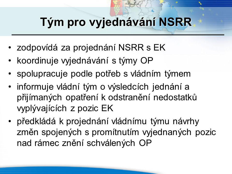 Tým pro vyjednávání NSRR zodpovídá za projednání NSRR s EK koordinuje vyjednávání s týmy OP spolupracuje podle potřeb s vládním týmem informuje vládní tým o výsledcích jednání a přijímaných opatření k odstranění nedostatků vyplývajících z pozic EK předkládá k projednání vládnímu týmu návrhy změn spojených s promítnutím vyjednaných pozic nad rámec znění schválených OP