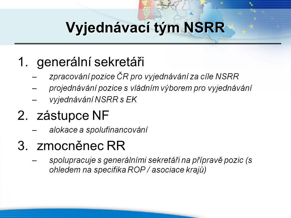 1.generální sekretáři –zpracování pozice ČR pro vyjednávání za cíle NSRR –projednávání pozice s vládním výborem pro vyjednávání –vyjednávání NSRR s EK
