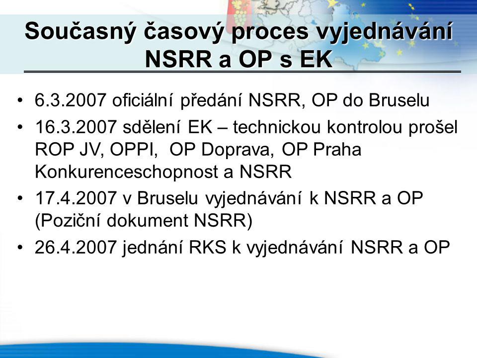 6.3.2007 oficiální předání NSRR, OP do Bruselu 16.3.2007 sdělení EK – technickou kontrolou prošel ROP JV, OPPI, OP Doprava, OP Praha Konkurenceschopnost a NSRR 17.4.2007 v Bruselu vyjednávání k NSRR a OP (Poziční dokument NSRR) 26.4.2007 jednání RKS k vyjednávání NSRR a OP Současný časový proces vyjednávání NSRR a OP s EK