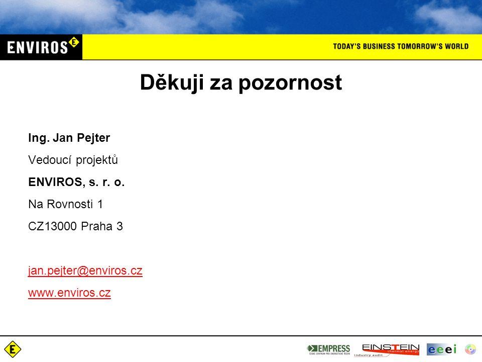 Děkuji za pozornost Ing. Jan Pejter Vedoucí projektů ENVIROS, s. r. o. Na Rovnosti 1 CZ13000 Praha 3 jan.pejter@enviros.cz@enviros.cz www.enviros.cz