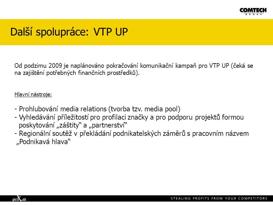 Další spolupráce: VTP UP Od podzimu 2009 je naplánováno pokračování komunikační kampaň pro VTP UP (čeká se na zajištění potřebných finančních prostřed