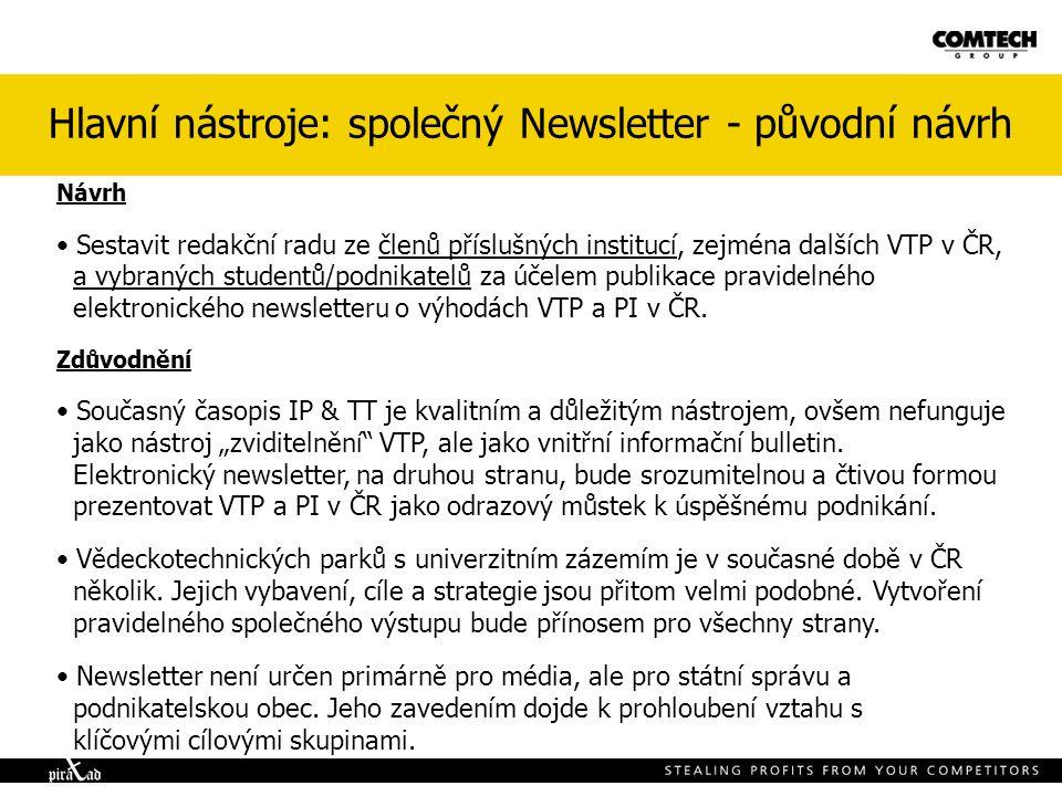 Hlavní nástroje: společný Newsletter - původní návrh Návrh Sestavit redakční radu ze členů příslušných institucí, zejména dalších VTP v ČR, a vybraných studentů/podnikatelů za účelem publikace pravidelného elektronického newsletteru o výhodách VTP a PI v ČR.