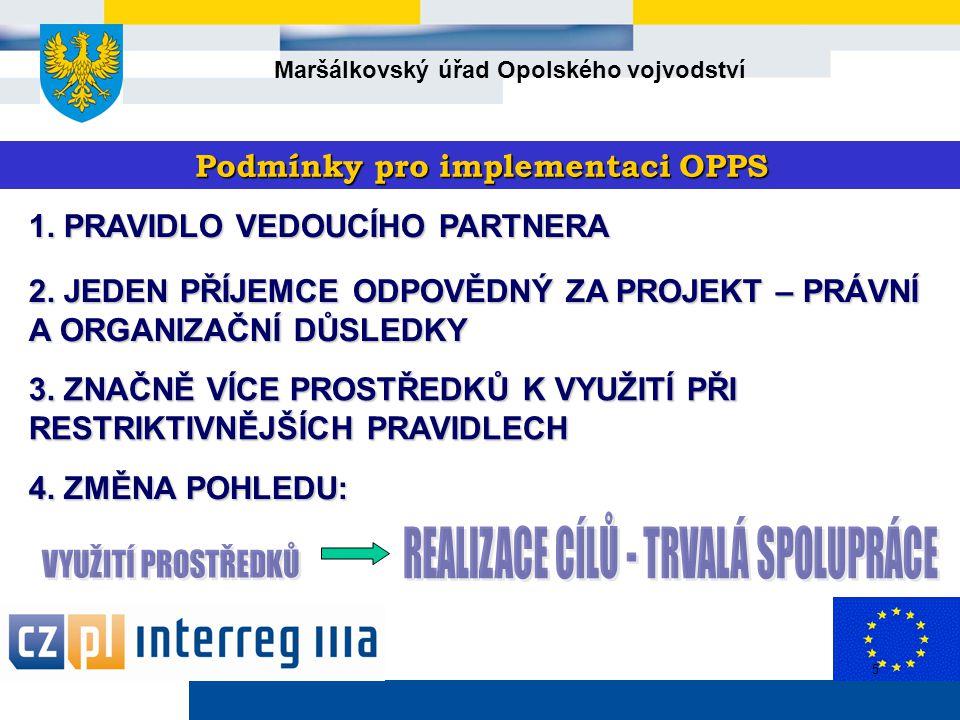 Maršálkovský úřad Opolského vojvodství 5 Podmínky pro implementaci OPPS 1.