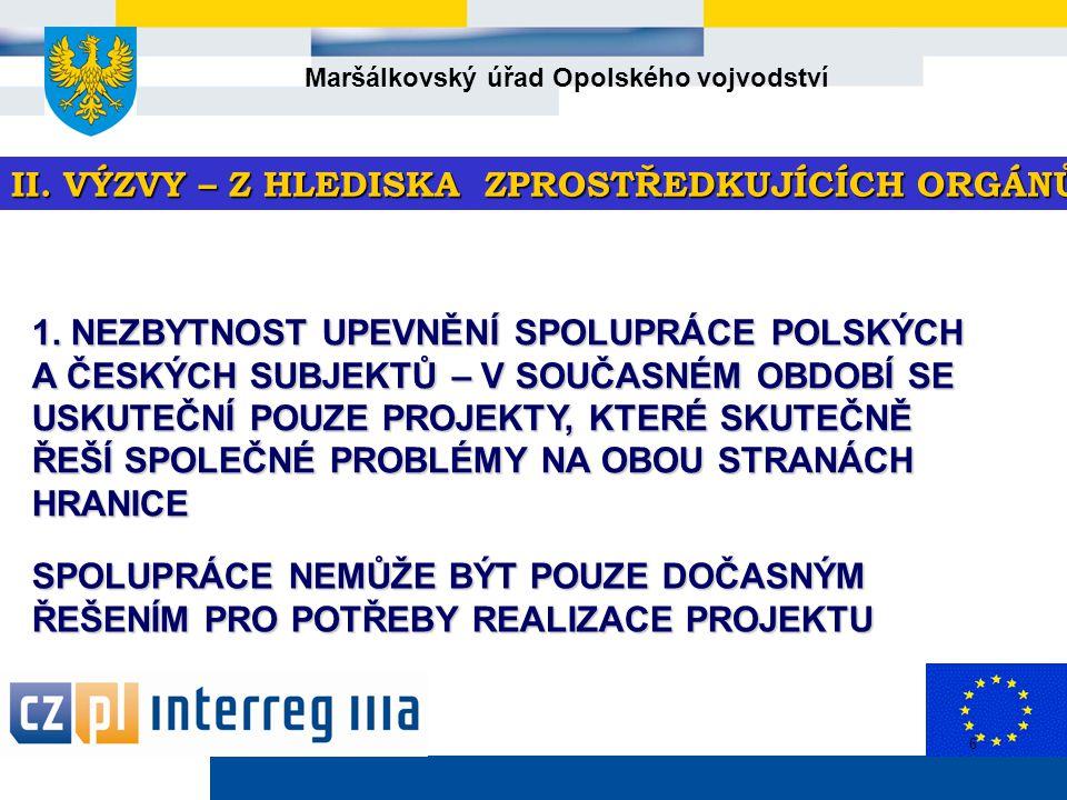 Maršálkovský úřad Opolského vojvodství 6 II. VÝZVY – Z HLEDISKA ZPROSTŘEDKUJÍCÍCH ORGÁNŮ 1.