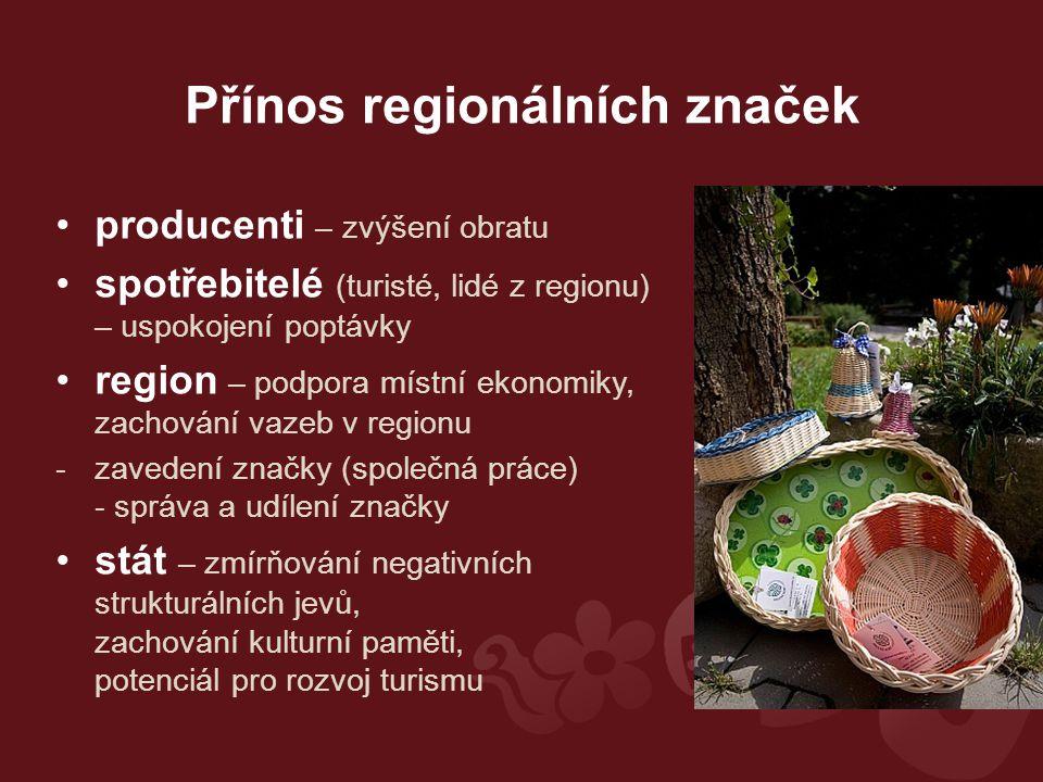 Přínos regionálních značek producenti – zvýšení obratu spotřebitelé (turisté, lidé z regionu) – uspokojení poptávky region – podpora místní ekonomiky, zachování vazeb v regionu -zavedení značky (společná práce) - správa a udílení značky stát – zmírňování negativních strukturálních jevů, zachování kulturní paměti, potenciál pro rozvoj turismu