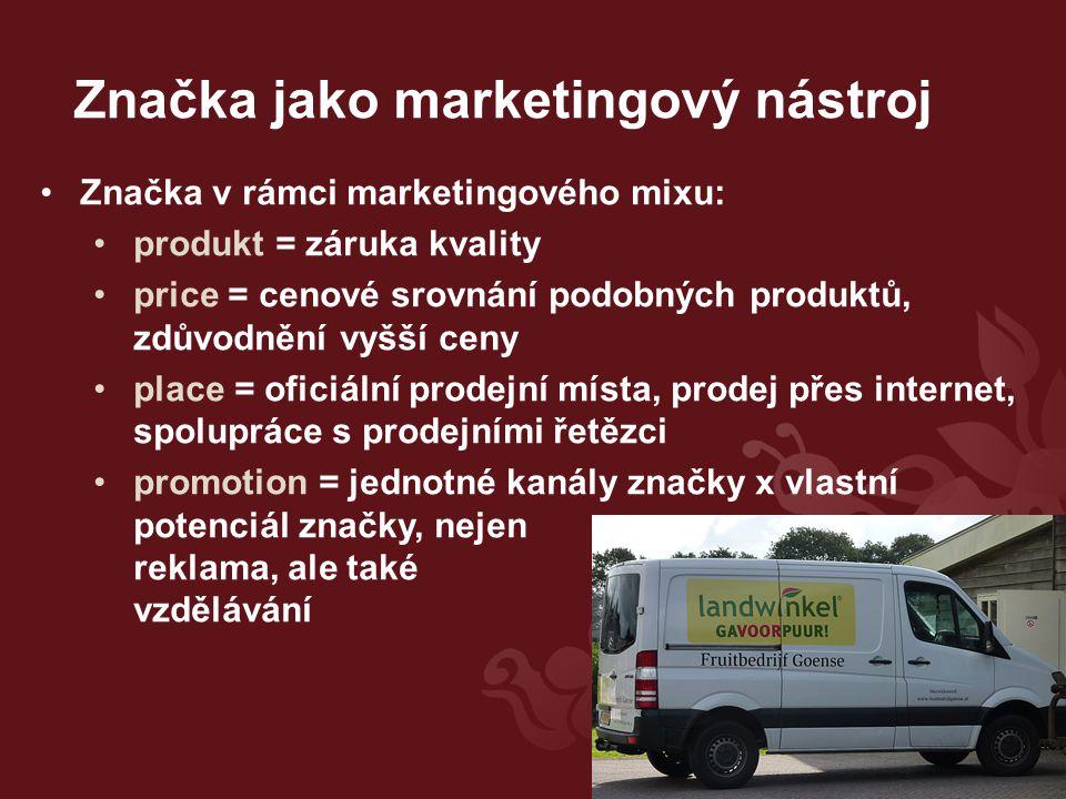 Značka jako marketingový nástroj Značka v rámci marketingového mixu: produkt = záruka kvality price = cenové srovnání podobných produktů, zdůvodnění vyšší ceny place = oficiální prodejní místa, prodej přes internet, spolupráce s prodejními řetězci promotion = jednotné kanály značky x vlastní potenciál značky, nejen reklama, ale také vzdělávání