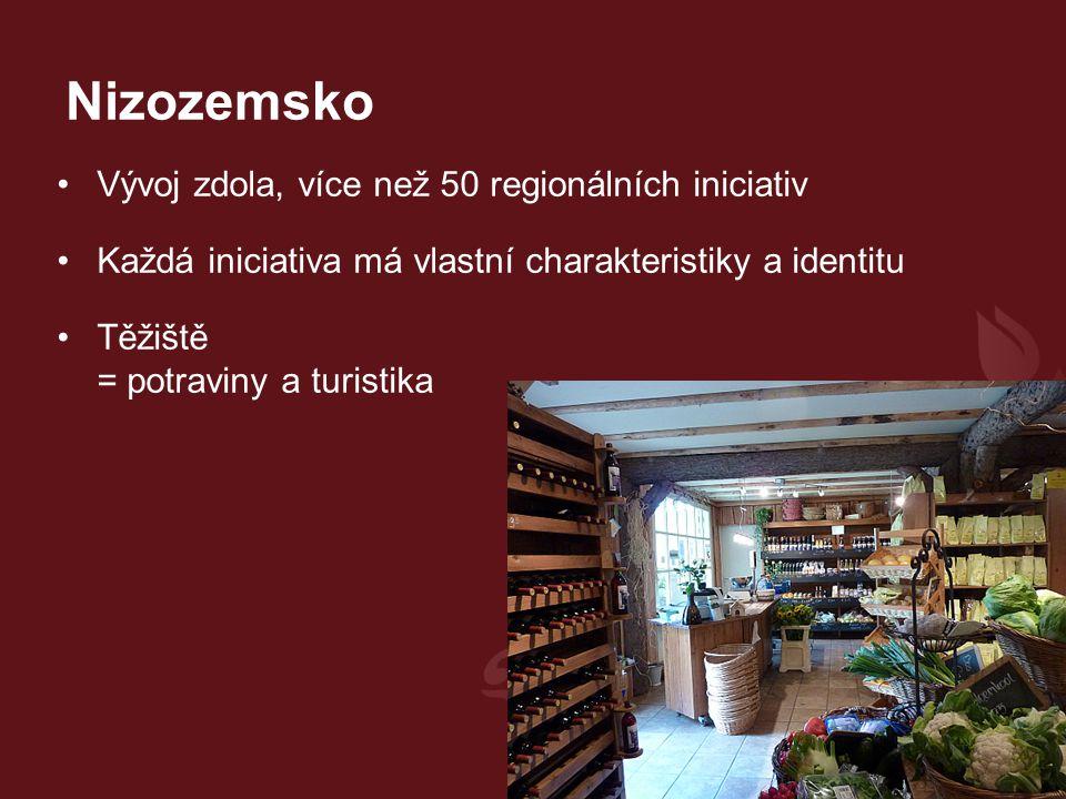 Vývoj zdola, více než 50 regionálních iniciativ Každá iniciativa má vlastní charakteristiky a identitu Těžiště = potraviny a turistika