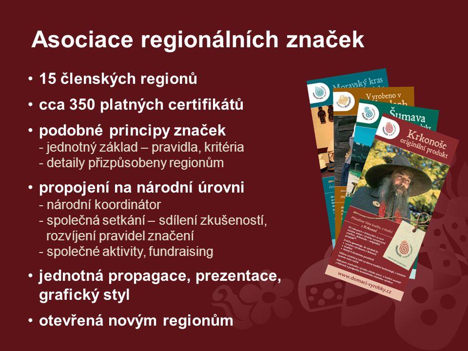 15 členských regionů cca 350 platných certifikátů podobné principy značek - jednotný základ – pravidla, kritéria - detaily přizpůsobeny regionům propojení na národní úrovni - národní koordinátor - společná setkání – sdílení zkušeností, rozvíjení pravidel značení - společné aktivity, fundraising jednotná propagace, prezentace, grafický styl otevřená novým regionům Asociace regionálních značek