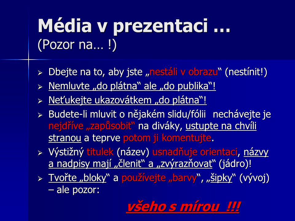 """Média v prezentaci … (Pozor na… !)  Dbejte na to, aby jste """"nestáli v obrazu"""" (nestínit!)  Nemluvte """"do plátna"""" ale """"do publika""""!  Neťukejte ukazov"""