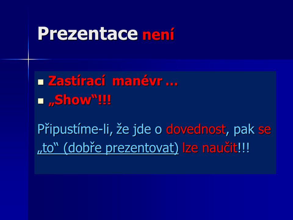 """Prezentace není Zastírací manévr … Zastírací manévr … """"Show !!."""
