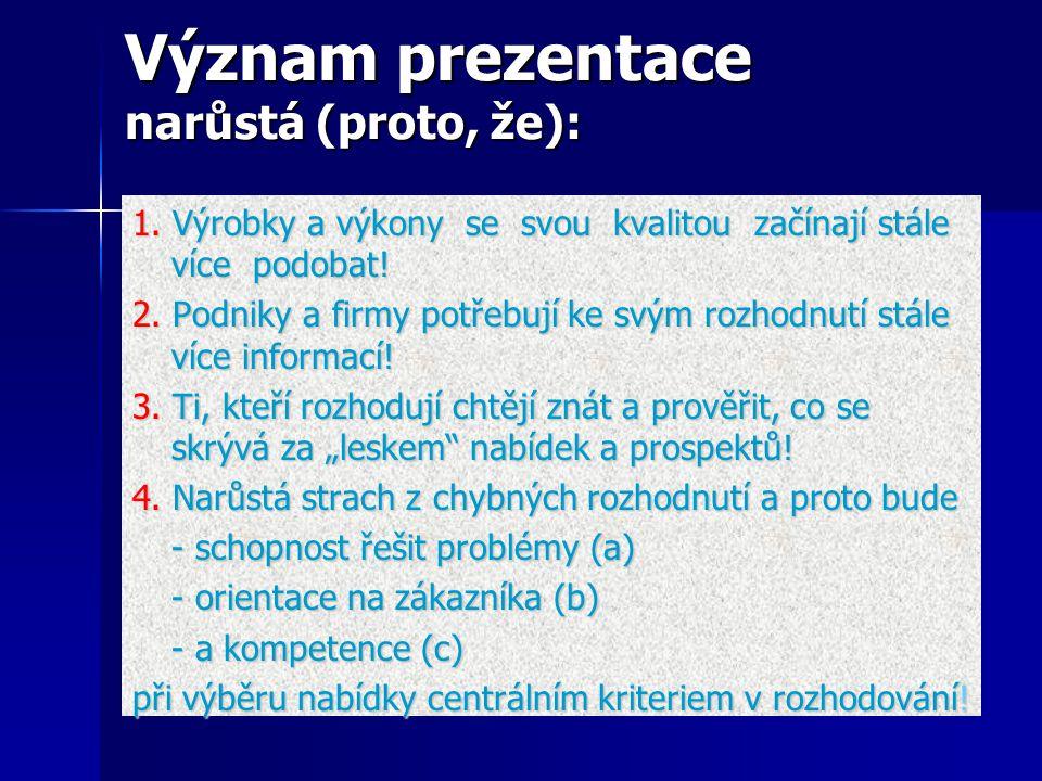 Význam prezentace narůstá (proto, že): Význam prezentace narůstá (proto, že): 1.