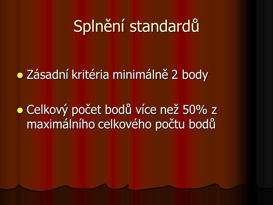 Splnění standardů Zásadní kritéria minimálně 2 body Zásadní kritéria minimálně 2 body Celkový počet bodů více než 50% z maximálního celkového počtu bo