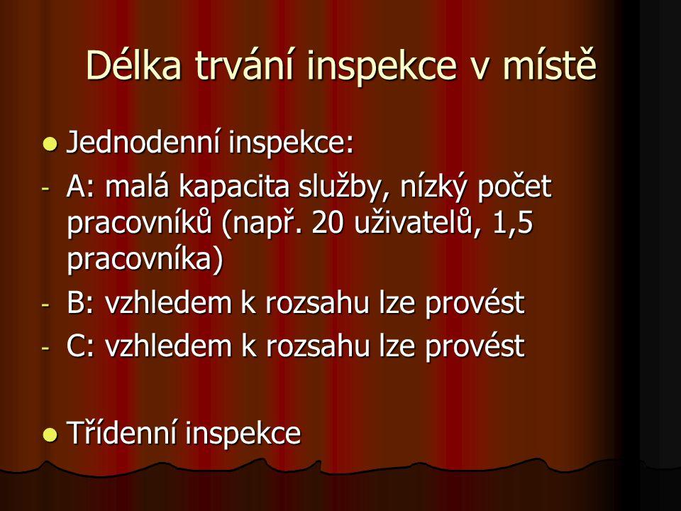 Délka trvání inspekce v místě Jednodenní inspekce: Jednodenní inspekce: - A: malá kapacita služby, nízký počet pracovníků (např. 20 uživatelů, 1,5 pra