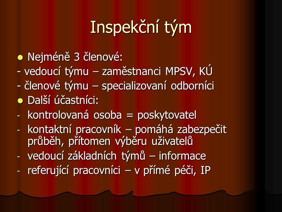 Inspekční tým Nejméně 3 členové: Nejméně 3 členové: - vedoucí týmu – zaměstnanci MPSV, KÚ - členové týmu – specializovaní odborníci Další účastníci: D