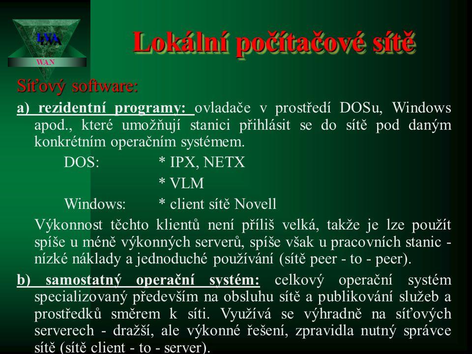 Lokální počítačové sítě LVALVA WAN Síťový hardware: Veškeré technické prostředky, které slouží ke vzájemnému fyzickému propojení jednotlivých stanic s