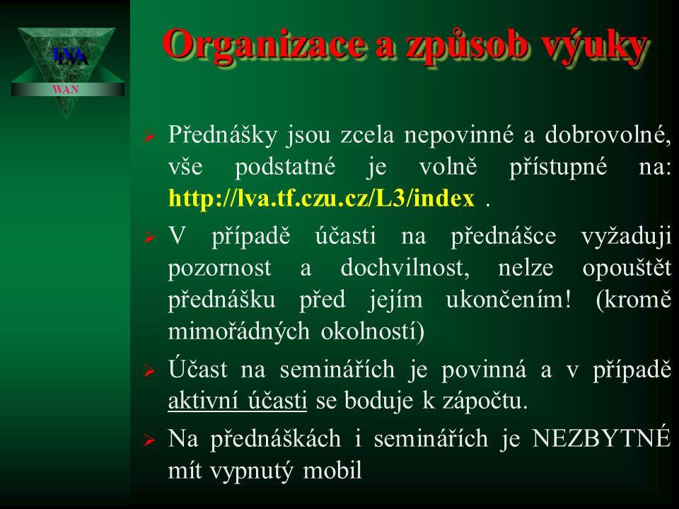 Ing. Zdeněk Votruba LVALVA Vzdálené počítačové sítě WAN 1.přednáška1.přednáška