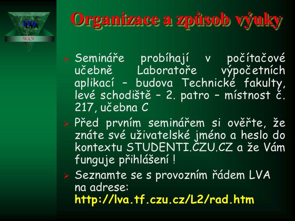 Organizace a způsob výuky LVALVA WAN  Přednášky jsou zcela nepovinné a dobrovolné, vše podstatné je volně přístupné na: http://lva.tf.czu.cz/L3/index.