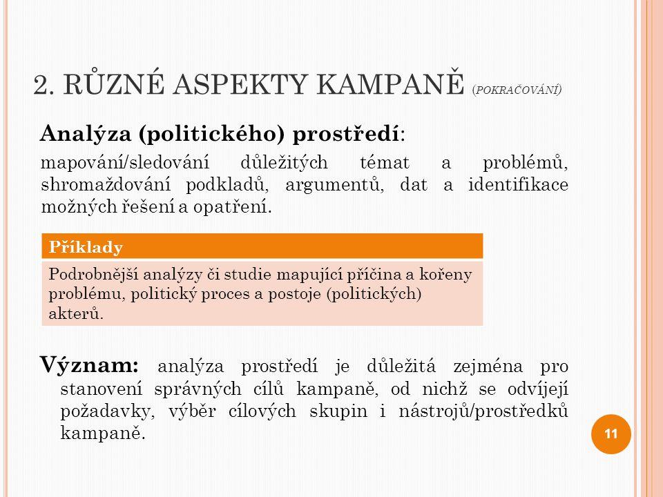 2. RŮZNÉ ASPEKTY KAMPANĚ ( POKRAČOVÁNÍ ) Analýza (politického) prostředí : mapování/sledování důležitých témat a problémů, shromaždování podkladů, arg