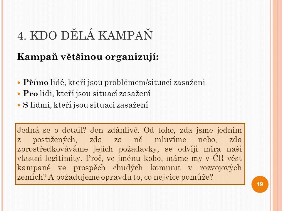 4. KDO DĚLÁ KAMPAŇ Kampaň většinou organizují: Přímo lidé, kteří jsou problémem/situací zasaženi Pro lidi, kteří jsou situací zasažení S lidmi, kteří