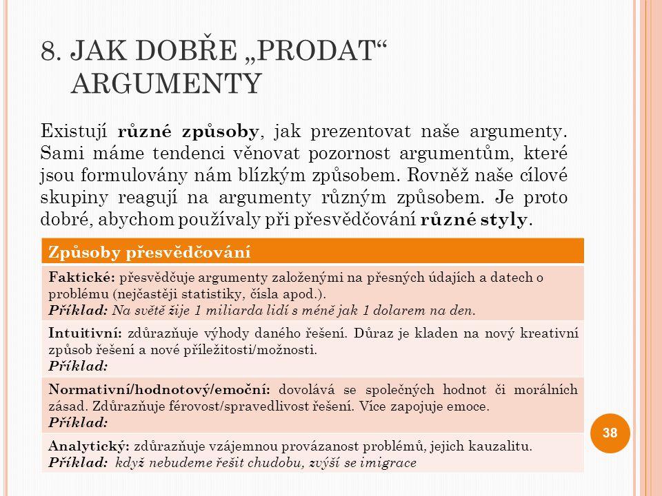 """8. JAK DOBŘE """"PRODAT"""" ARGUMENTY Existují různé způsoby, jak prezentovat naše argumenty. Sami máme tendenci věnovat pozornost argumentům, které jsou fo"""