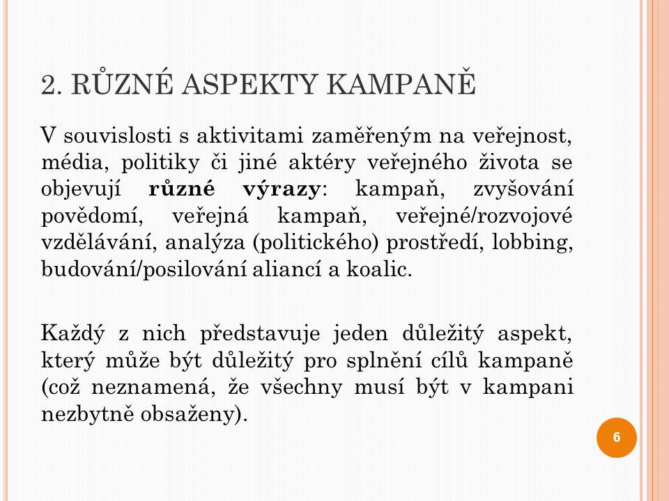 2. RŮZNÉ ASPEKTY KAMPANĚ V souvislosti s aktivitami zaměřeným na veřejnost, média, politiky či jiné aktéry veřejného života se objevují různé výrazy :