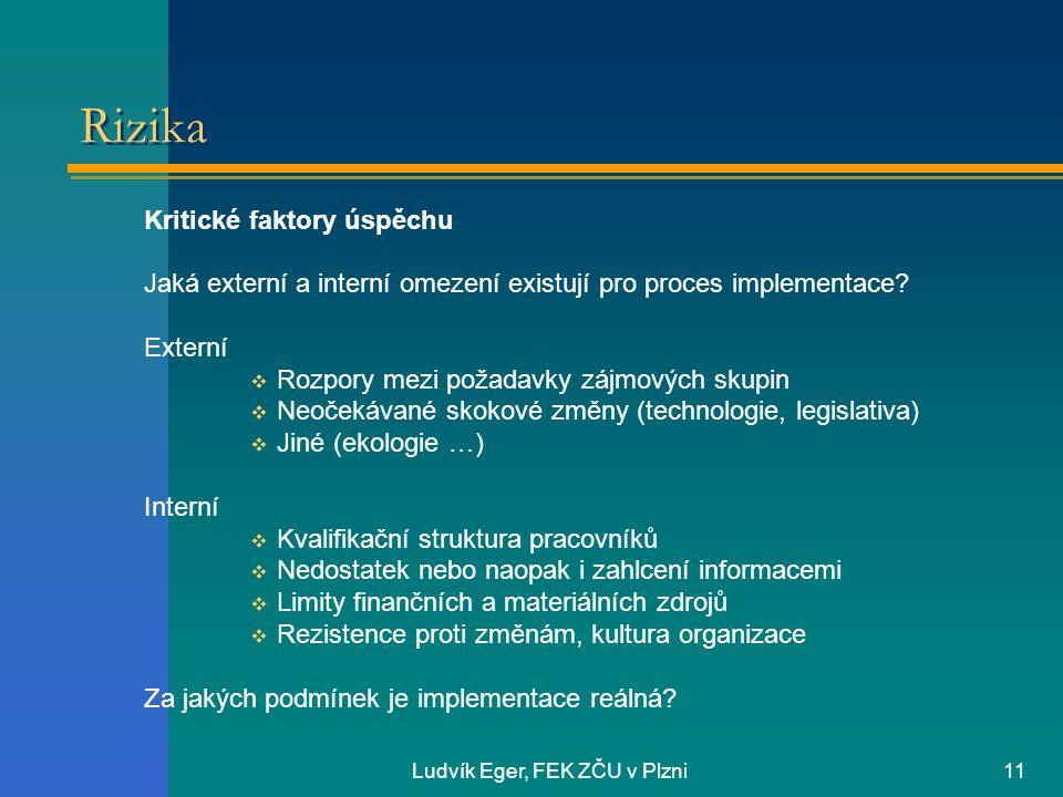 Ludvík Eger, FEK ZČU v Plzni11 Rizika Kritické faktory úspěchu Jaká externí a interní omezení existují pro proces implementace.