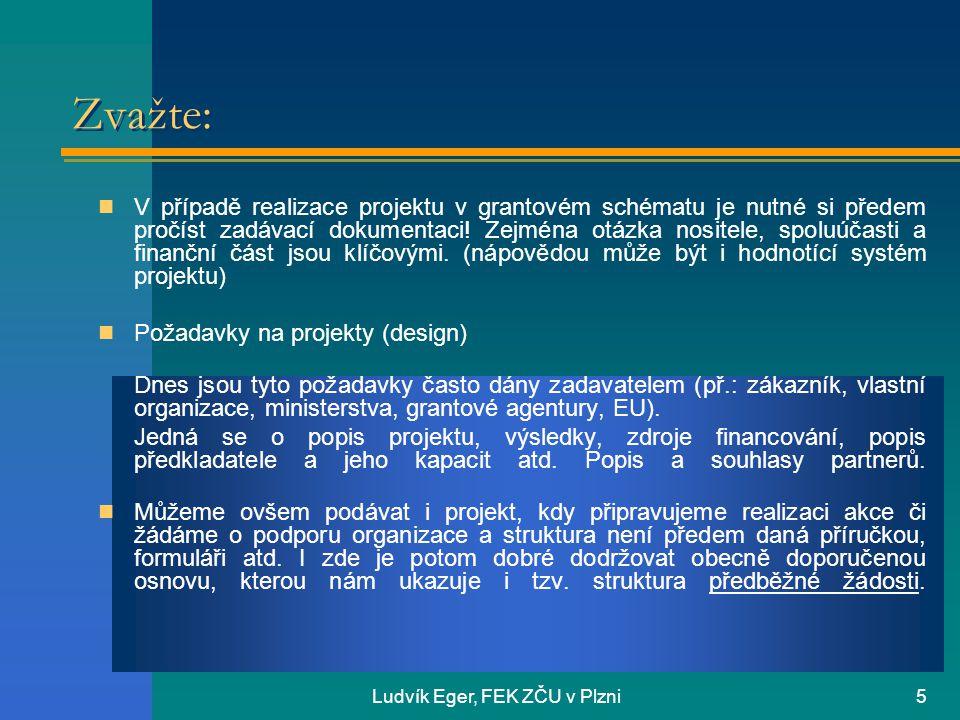 Ludvík Eger, FEK ZČU v Plzni5 Zvažte: V případě realizace projektu v grantovém schématu je nutné si předem pročíst zadávací dokumentaci.