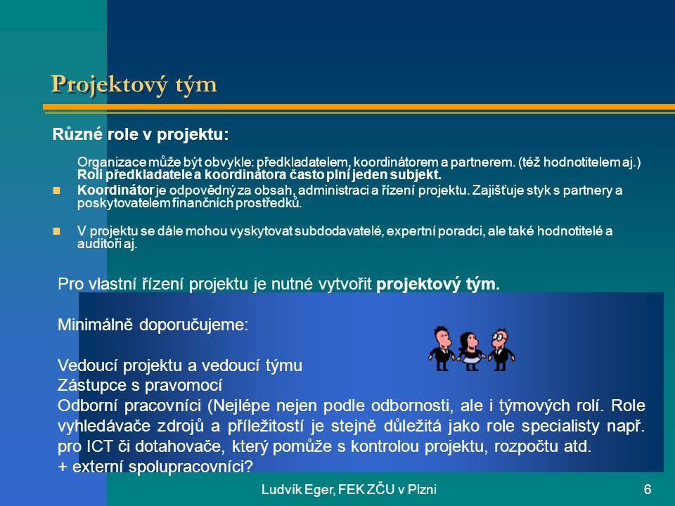 Ludvík Eger, FEK ZČU v Plzni6 Projektový tým Různé role v projektu: Organizace může být obvykle: předkladatelem, koordinátorem a partnerem.