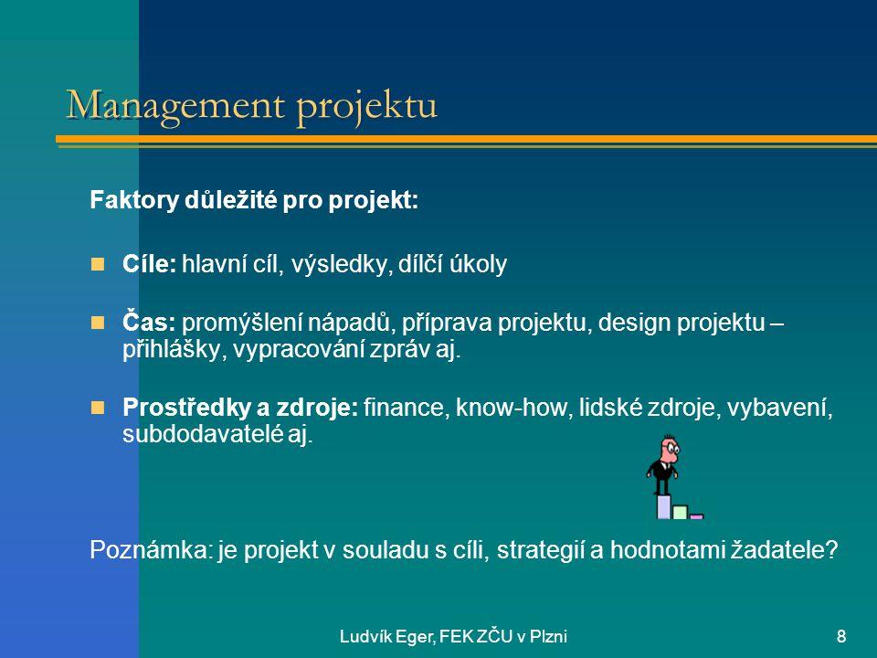 Ludvík Eger, FEK ZČU v Plzni8 Management projektu Faktory důležité pro projekt: Cíle: hlavní cíl, výsledky, dílčí úkoly Čas: promýšlení nápadů, příprava projektu, design projektu – přihlášky, vypracování zpráv aj.