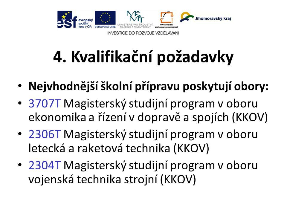 4. Kvalifikační požadavky Nejvhodnější školní přípravu poskytují obory: 3707T Magisterský studijní program v oboru ekonomika a řízení v dopravě a spoj