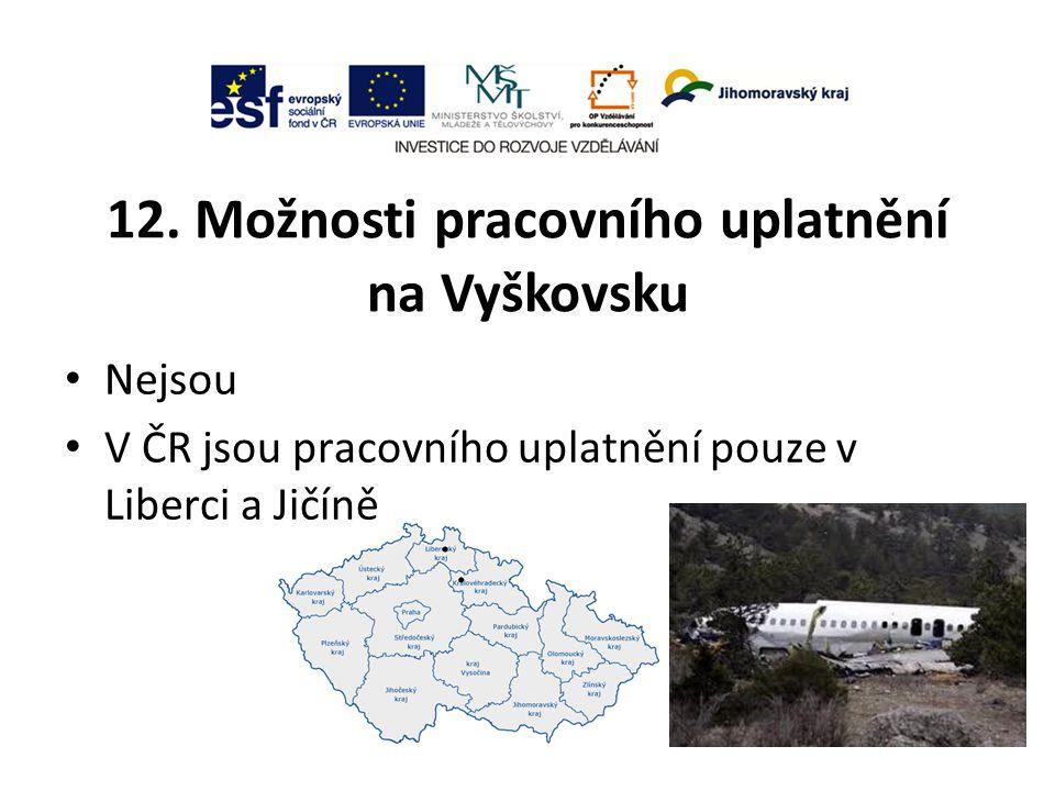 12. Možnosti pracovního uplatnění na Vyškovsku Nejsou V ČR jsou pracovního uplatnění pouze v Liberci a Jičíně