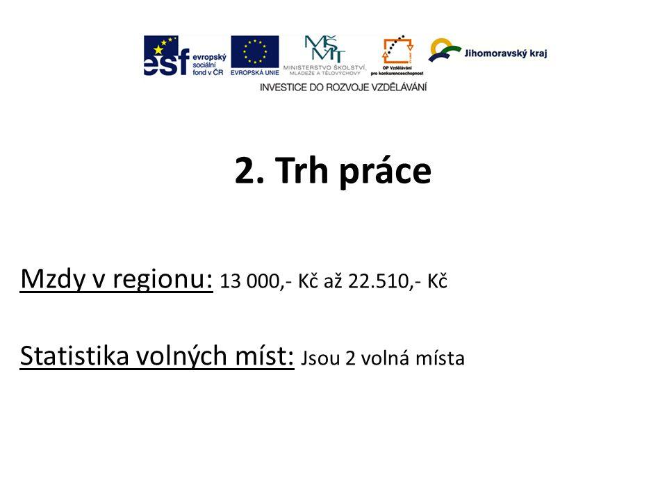 2. Trh práce Mzdy v regionu: 13 000,- Kč až 22.510,- Kč Statistika volných míst: Jsou 2 volná místa