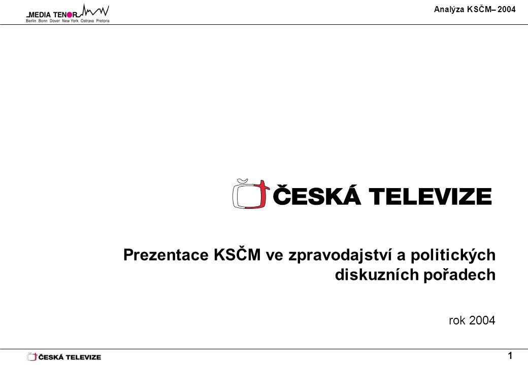 Analýza KSČM– 2004 1 Prezentace KSČM ve zpravodajství a politických diskuzních pořadech rok 2004