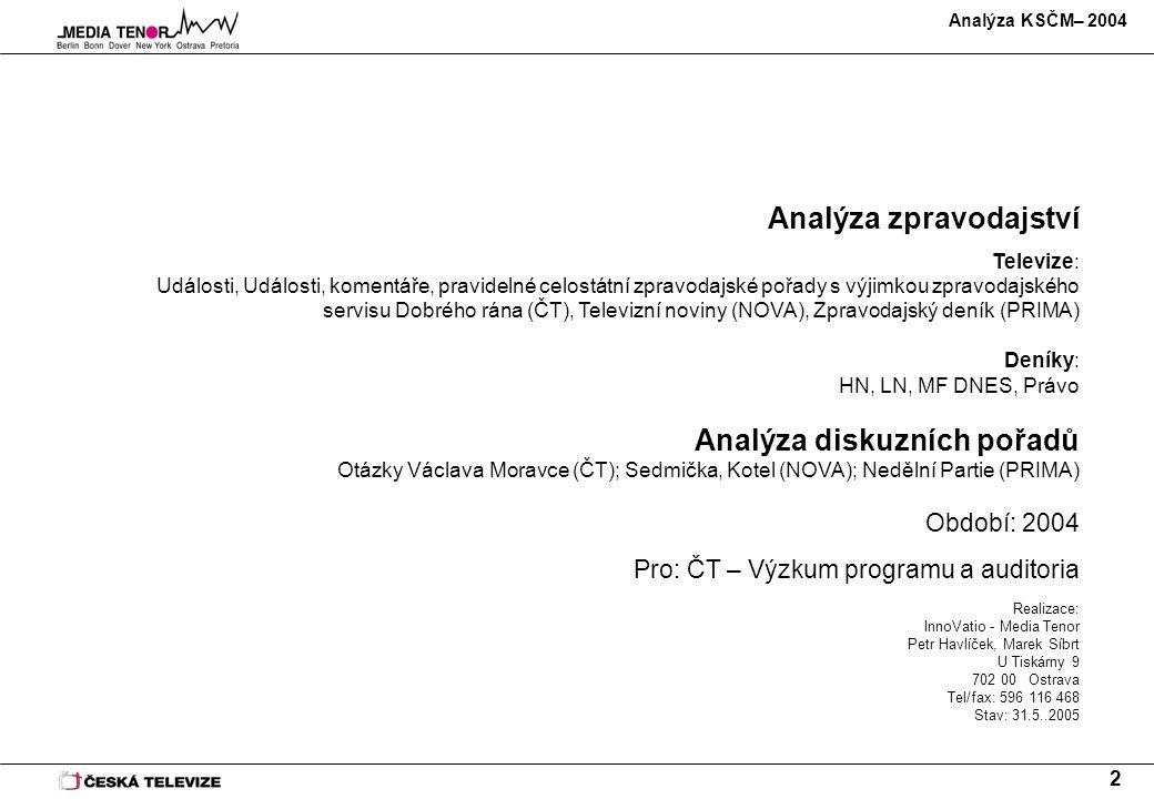 Analýza KSČM– 2004 2 Analýza zpravodajství Televize: Události, Události, komentáře, pravidelné celostátní zpravodajské pořady s výjimkou zpravodajskéh