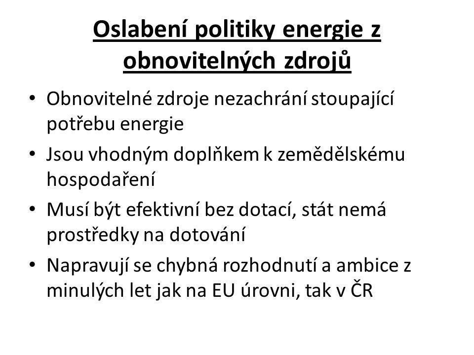 Oslabení politiky energie z obnovitelných zdrojů Obnovitelné zdroje nezachrání stoupající potřebu energie Jsou vhodným doplňkem k zemědělskému hospodaření Musí být efektivní bez dotací, stát nemá prostředky na dotování Napravují se chybná rozhodnutí a ambice z minulých let jak na EU úrovni, tak v ČR