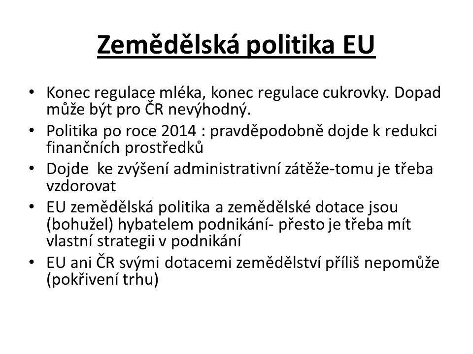 Zemědělská politika EU Konec regulace mléka, konec regulace cukrovky.