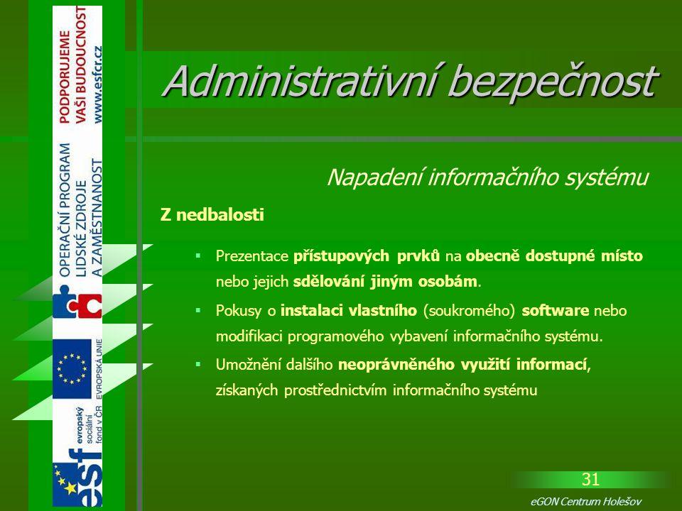 31 eGON Centrum Holešov  Prezentace přístupových prvků na obecně dostupné místo nebo jejich sdělování jiným osobám.  Pokusy o instalaci vlastního (s