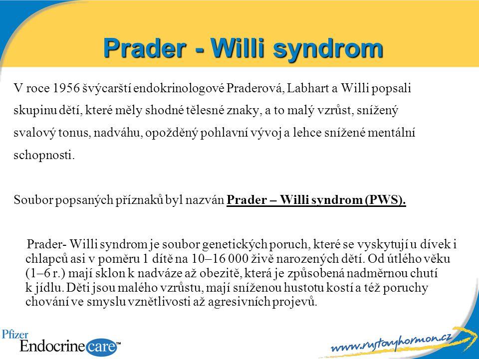 Prader - Willi syndrom V roce 1956 švýcarští endokrinologové Praderová, Labhart a Willi popsali skupinu dětí, které měly shodné tělesné znaky, a to ma