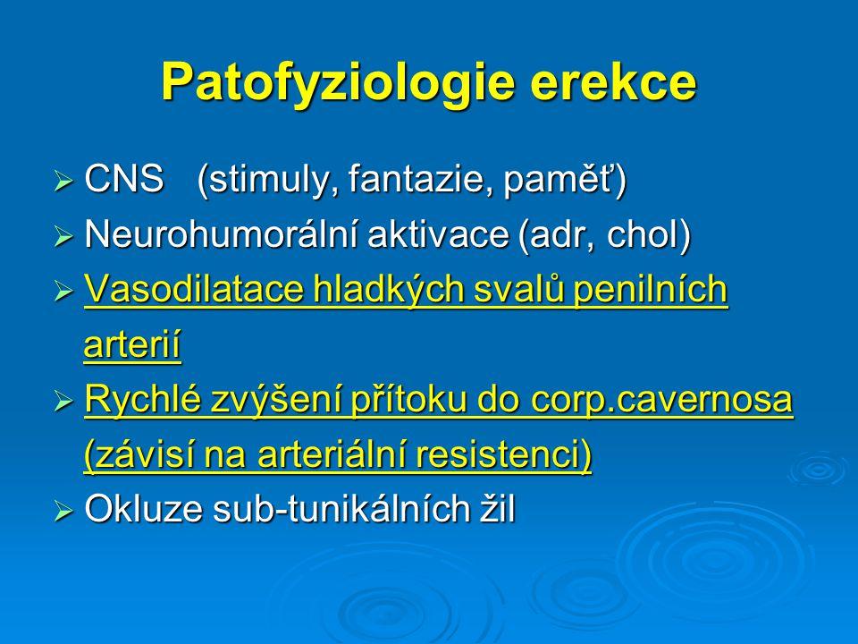 Patofyziologie erekce  CNS (stimuly, fantazie, paměť)  Neurohumorální aktivace (adr, chol)  Vasodilatace hladkých svalů penilních arterií arterií  Rychlé zvýšení přítoku do corp.cavernosa (závisí na arteriální resistenci) (závisí na arteriální resistenci)  Okluze sub-tunikálních žil