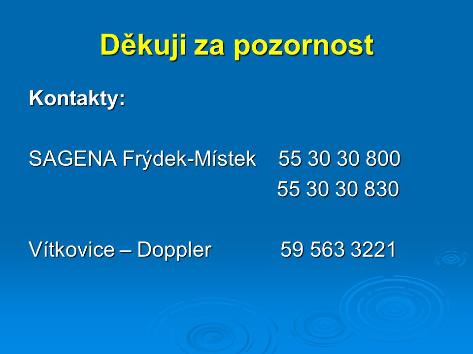 Děkuji za pozornost Kontakty: SAGENA Frýdek-Místek 55 30 30 800 55 30 30 830 55 30 30 830 Vítkovice – Doppler 59 563 3221