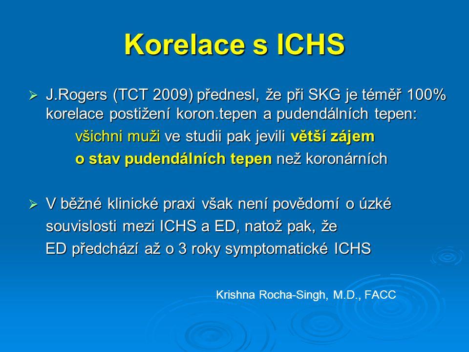 Korelace s ICHS  J.Rogers (TCT 2009) přednesl, že při SKG je téměř 100% korelace postižení koron.tepen a pudendálních tepen: všichni muži ve studii pak jevili větší zájem o stav pudendálních tepen než koronárních  V běžné klinické praxi však není povědomí o úzké souvislosti mezi ICHS a ED, natož pak, že ED předchází až o 3 roky symptomatické ICHS ED předchází až o 3 roky symptomatické ICHS Krishna Rocha-Singh, M.D., FACC