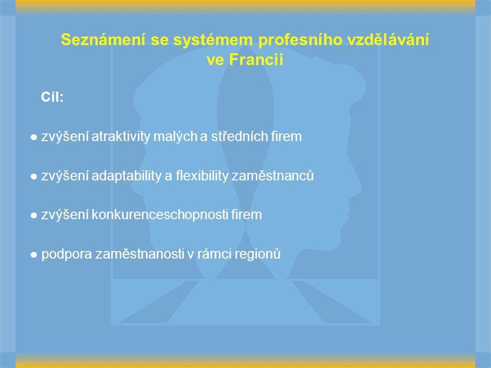 Cíl: ● zvýšení atraktivity malých a středních firem ● zvýšení adaptability a flexibility zaměstnanců ● zvýšení konkurenceschopnosti firem ● podpora zaměstnanosti v rámci regionů Seznámení se systémem profesního vzdělávání ve Francii