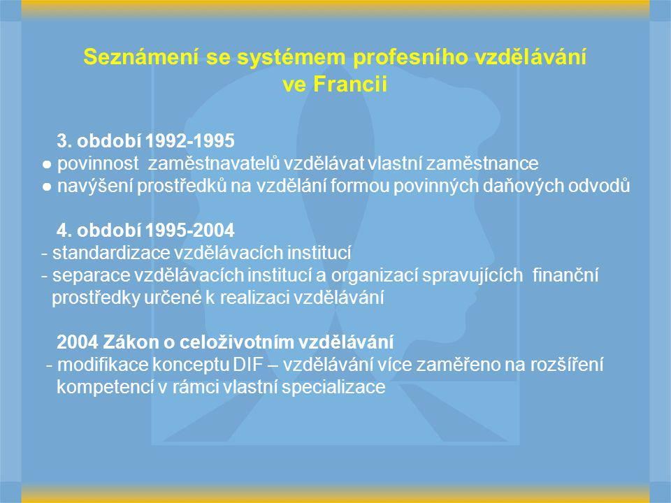 3. období 1992-1995 ● povinnost zaměstnavatelů vzdělávat vlastní zaměstnance ● navýšení prostředků na vzdělání formou povinných daňových odvodů 4. obd